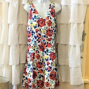 Summery Floral Sleeveless Dress White Pink Blue 12